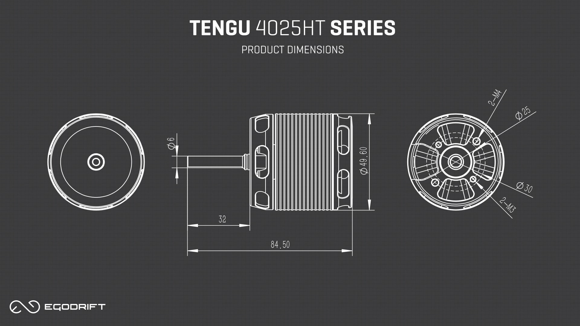 EGODRIFT Tengu 4025HT Series Product Dimensions