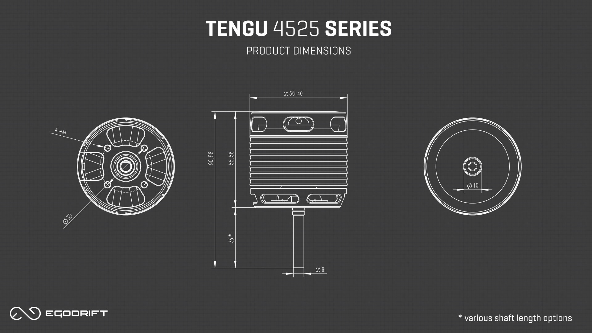 EGODRIFT Tengu 4525 HS/HT Product Dimensions