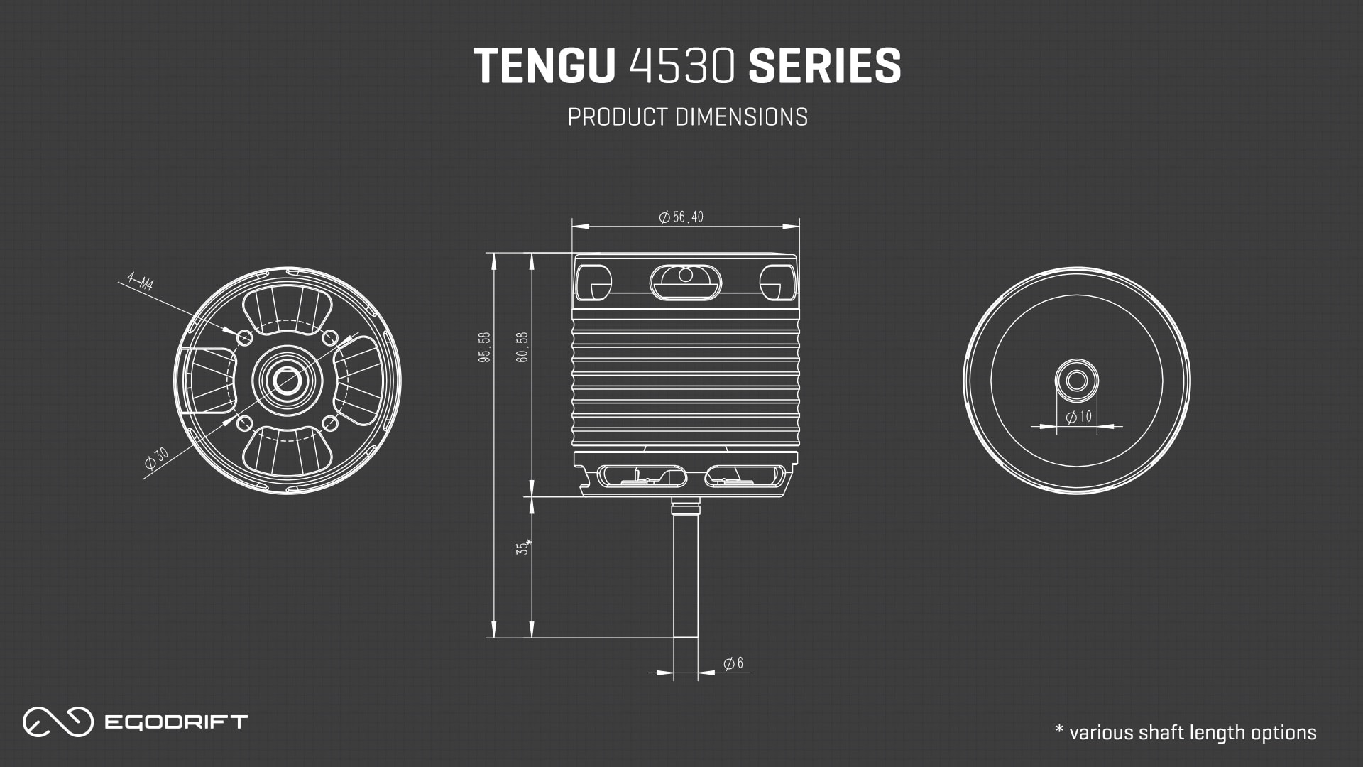 EGODRIFT Tengu 4530 HS/HT Product Dimensions